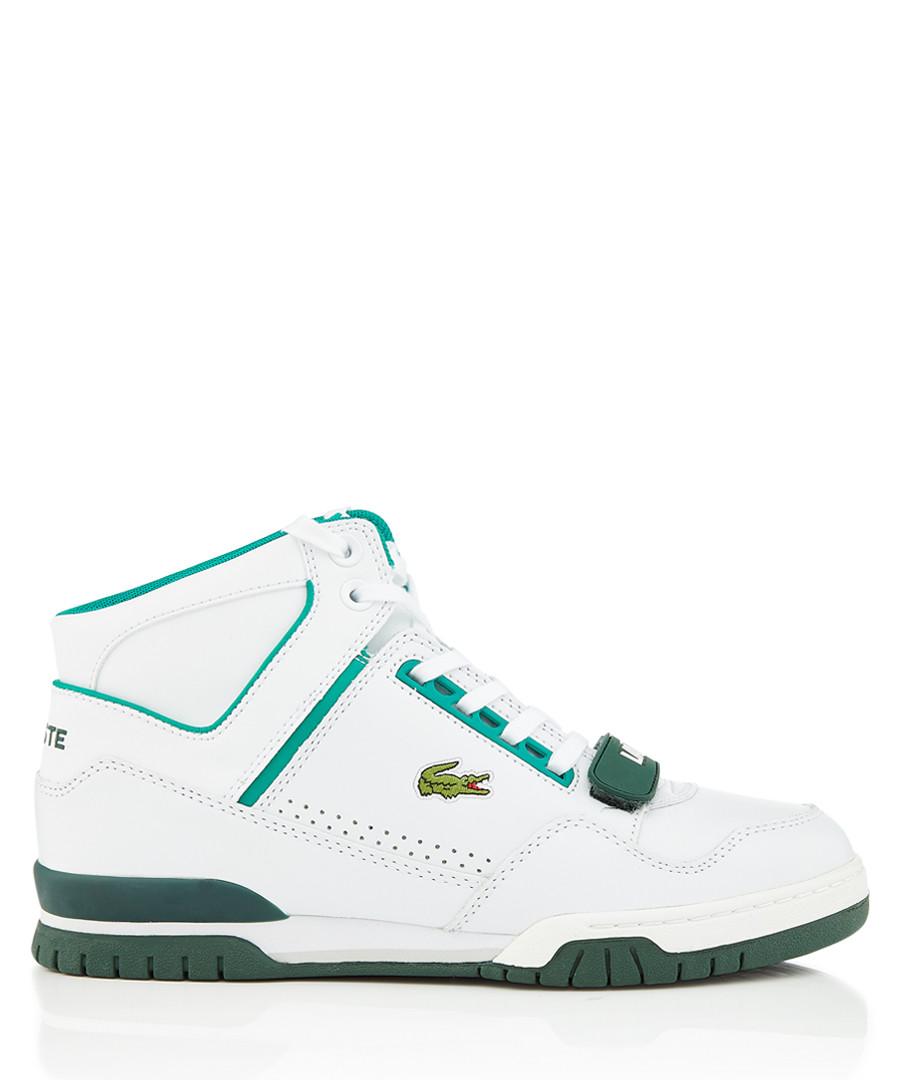 Whte & dark green leather logo sneakers Sale - lacoste