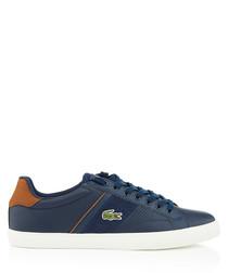 Navy & tan logo sneakers