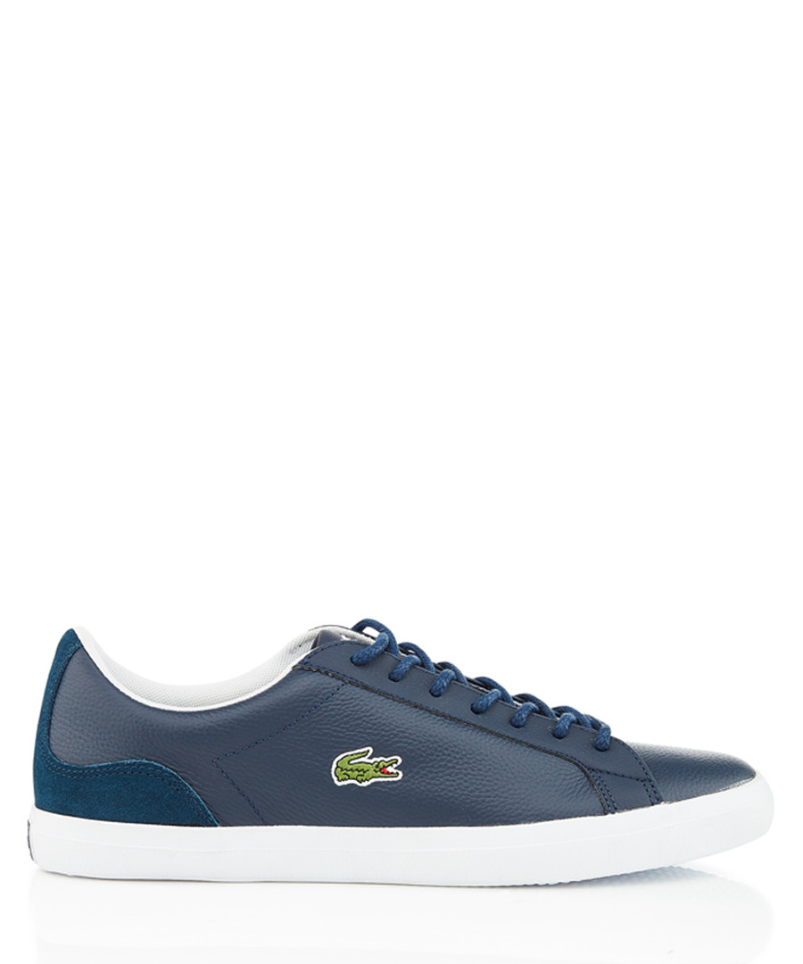 Navy & white leather sneakers Sale - lacoste