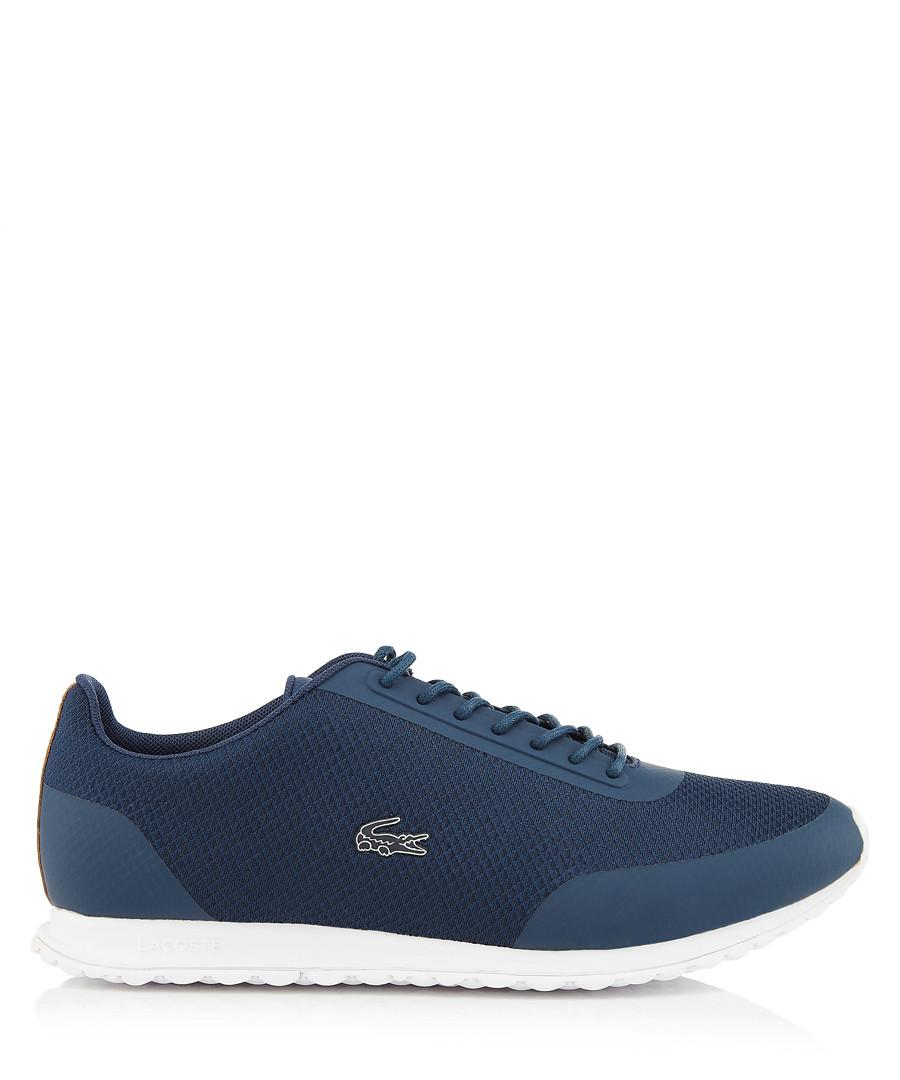 Navy & white logo sneakers Sale - lacoste