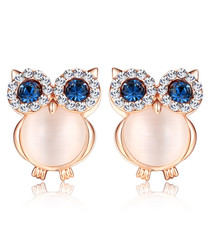 Chic rose gold-plated owl earrings