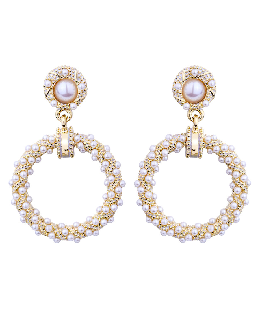Beads Of Dew glass pearl hoop earrings Sale - caromay