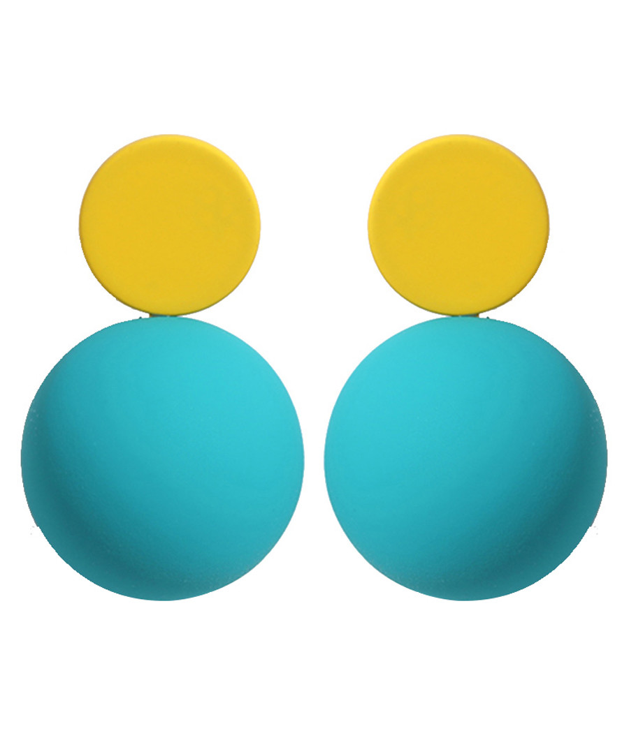 Candy Ball yellow & blue disc earrings Sale - caromay