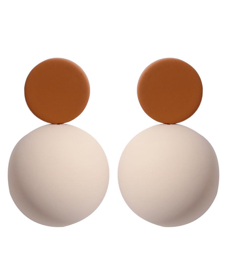 Candy Ball cream & khaki disc earrings Sale - caromay