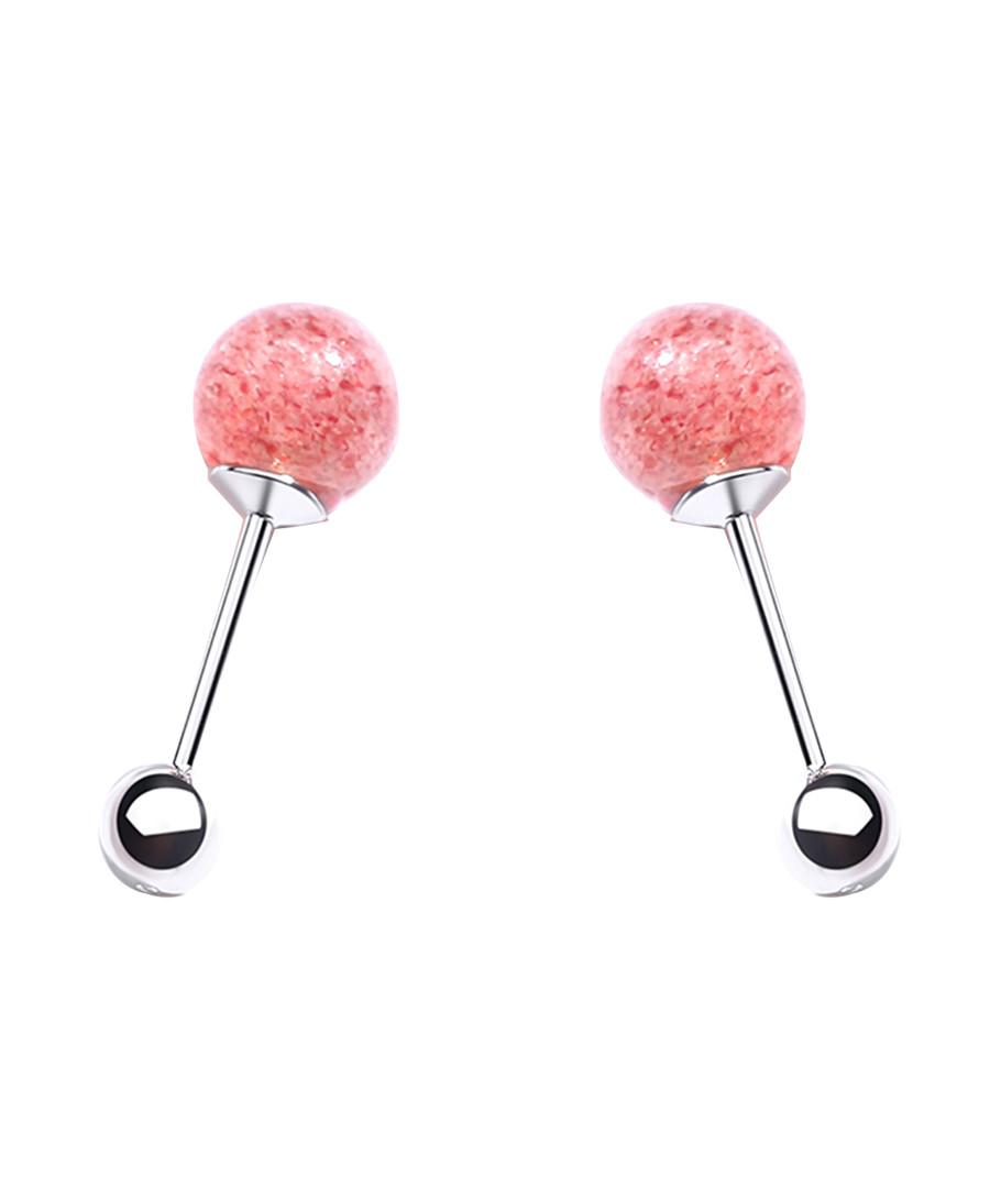 Soft Ball strawberry quartz earrings Sale - caromay