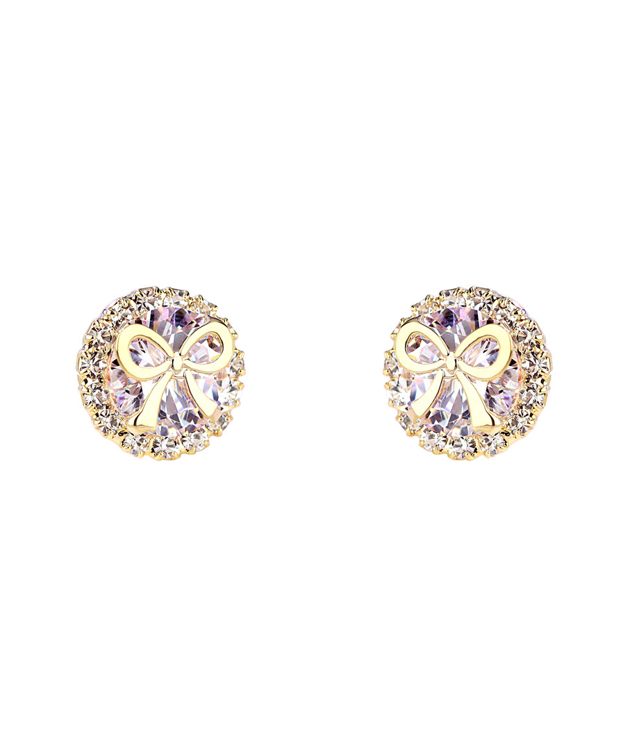 Gifted Bow gold-plated crystal earring Sale - caromay