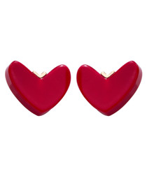 Hot Heart red gold-plated earrings