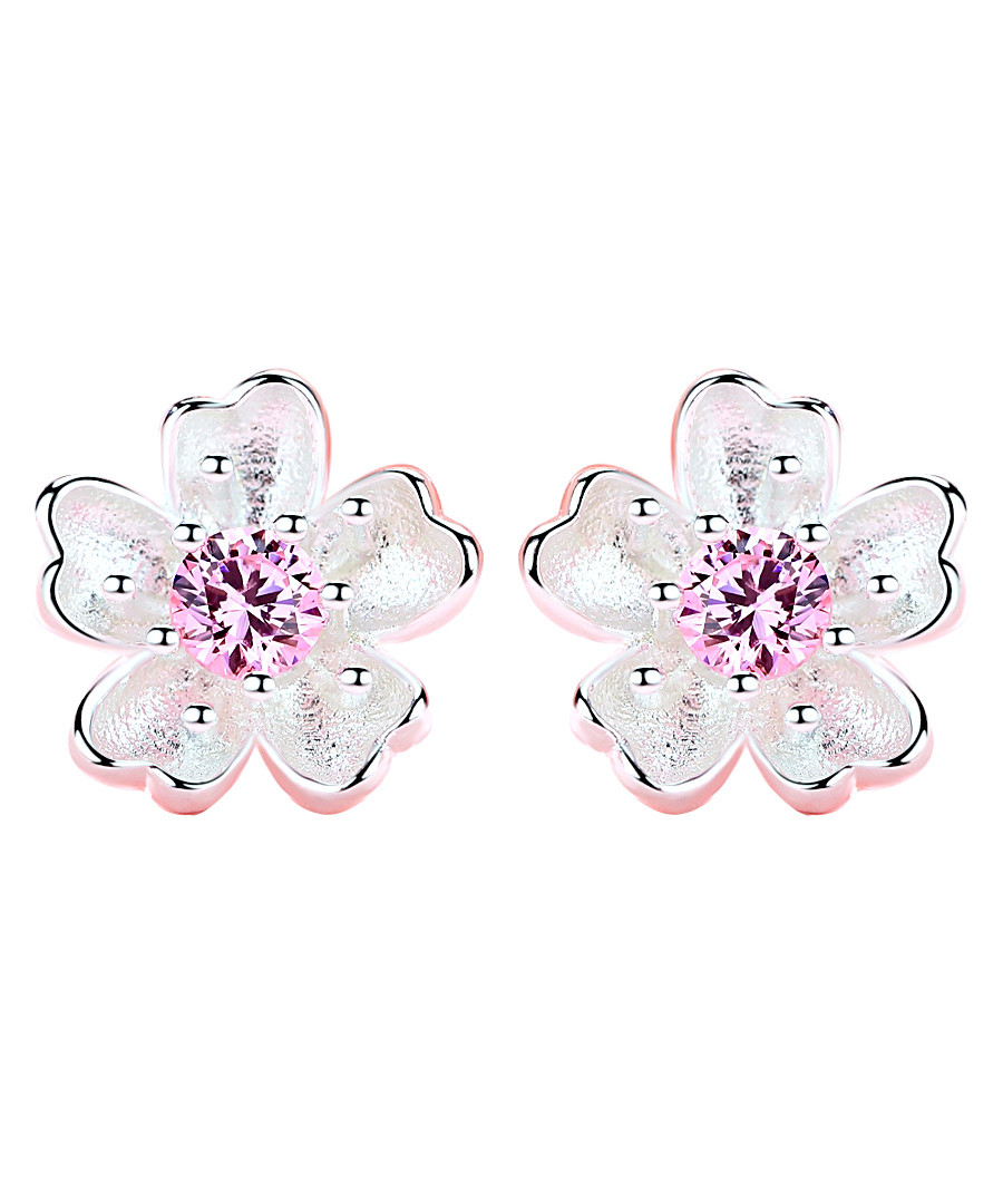 Forget-Me-Not pink crystal earrings Sale - caromay