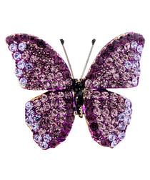 King Butterfly purple crystal brooch