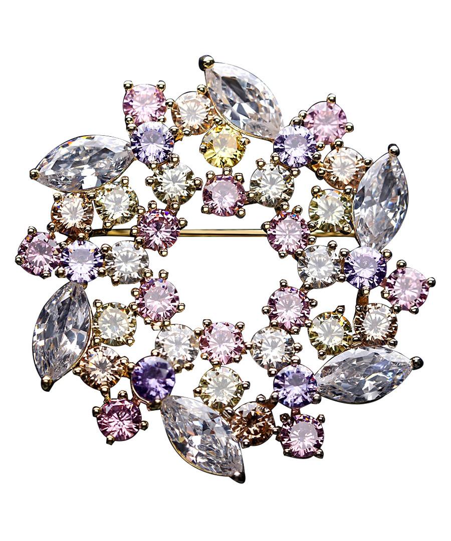 Wreath pastel crystal brooch Sale - caromay