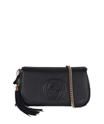 Soho black embossed leather crossbody