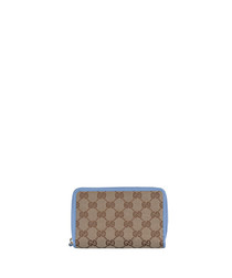 Beige & sky canvas monogram wallet