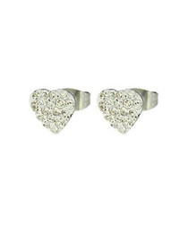 2pc Silver-tone crystal heart set
