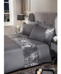 Single grey velvet duvet set
