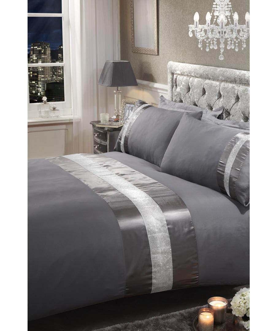 diamante single grey duvet set Sale - sienna