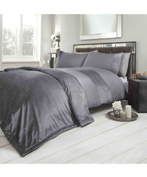 Sparkle single grey velvet duvet set