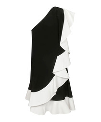 Monochrome pure silk ruffle dress