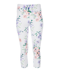 White floral printed leggings