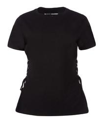 Black side lace-up T-shirt
