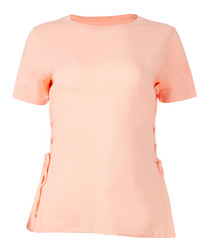 Pink side lace-up T-shirt