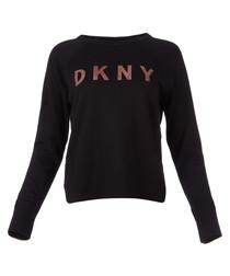 Black logo pullover sweatshirt