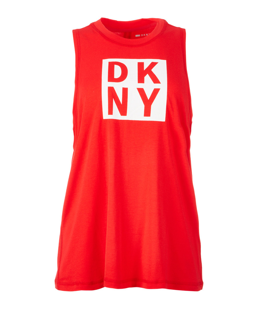White & red logo tank top Sale - dkny
