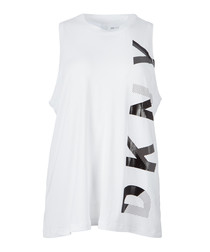White & black logo tank top