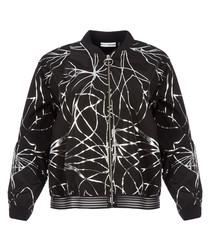 Black & silver-tone foil print jacket