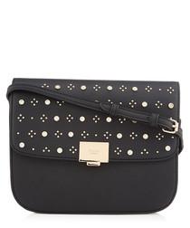 Black embellished fold-over crossbody