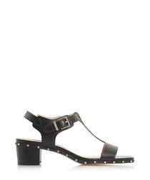 Isadora black leather stud sandals