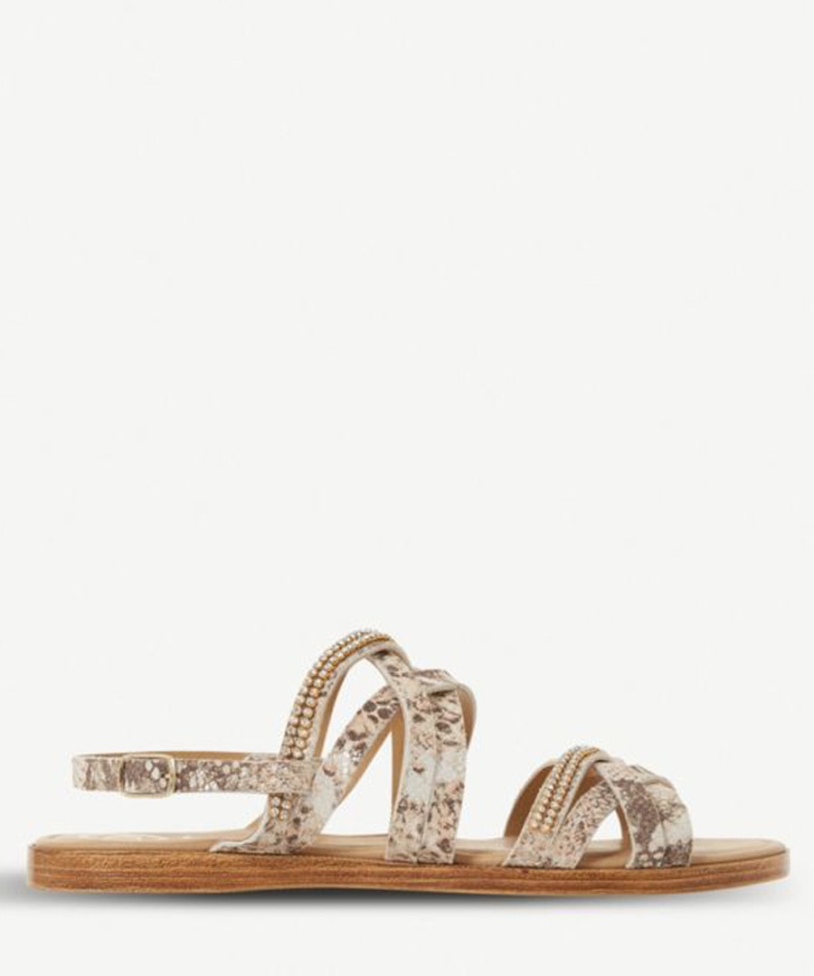 Laiwu brown leather snake-effect sandals Sale - dune
