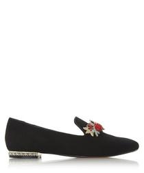 Galleria black suede slipper cut loafers