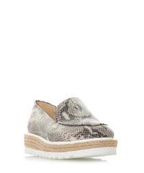 Genie grey snake-effect flatform loafers