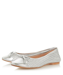 Hennah silver-tone leather ballet pumps