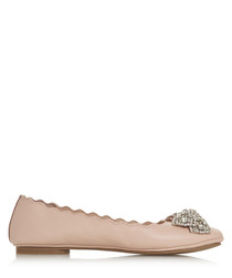 Highlight blush leather ballet pumps