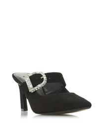 Darncer black suede diamante heels