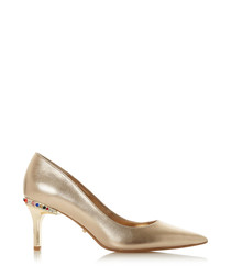 Bellows gold-tone leather heels