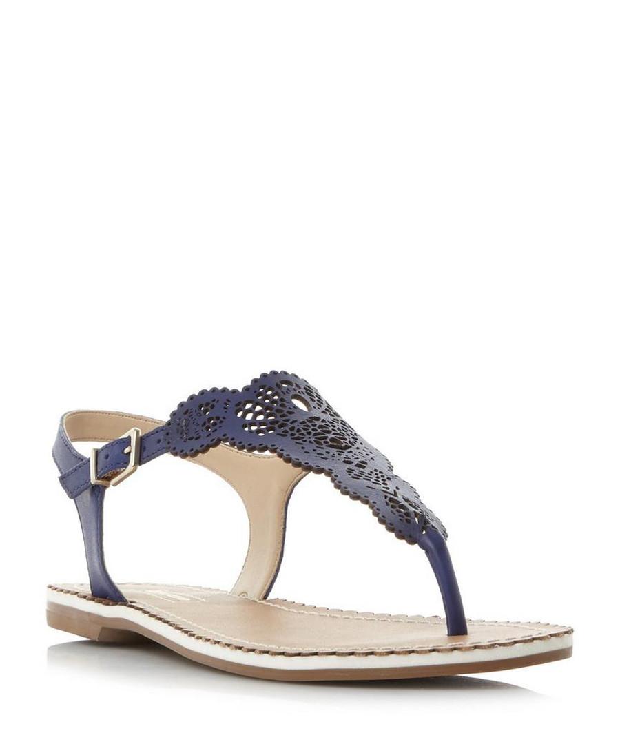 Lill blue leather laser cut sandals Sale - dune