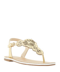 Lill gold-tone leather laser cut sandals