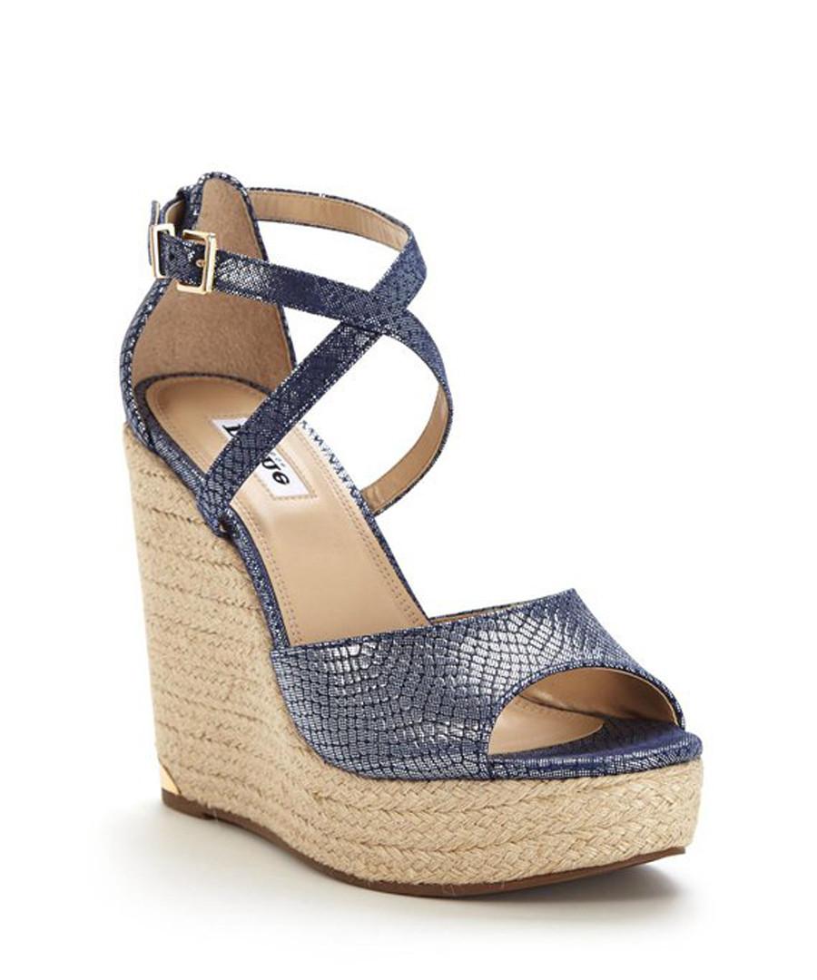 Krystal blue leather moc-croc wedges Sale - dune