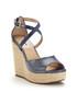 Krystal blue leather moc-croc wedges Sale - dune Sale