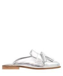 Geen silver-tone leather slip-on flats