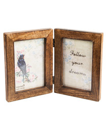mango Wood double Photo Frame 26.6cm