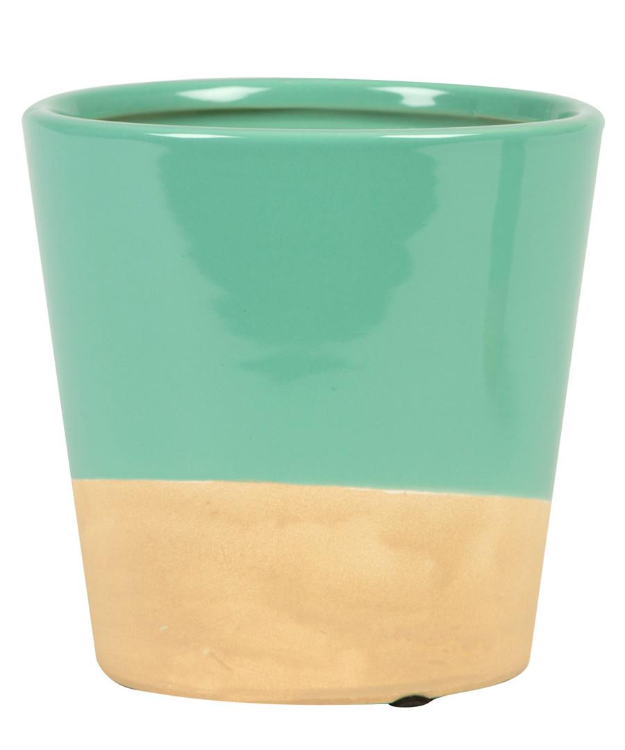 Turquoise Dip stoneware Planter 7.3cm Sale - sass & belle