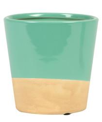 Turquoise Dip stoneware Planter 7.3cm
