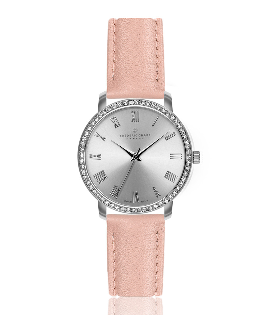 silver-tone & pink leather watch Sale - frederic graff
