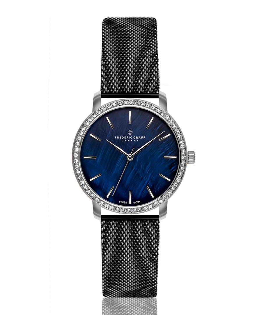 silver-tone & black steel watch Sale - frederic graff