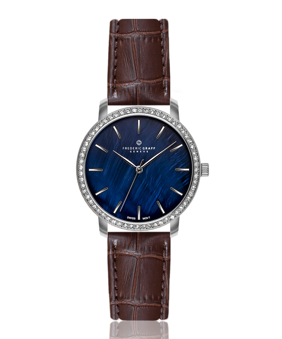 silver-tone & brown leather watch Sale - frederic graff