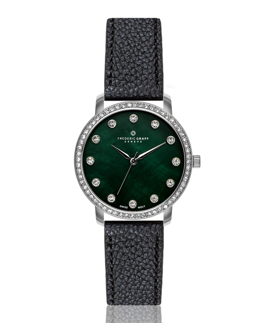silver-tone & black leather watch Sale - frederic graff