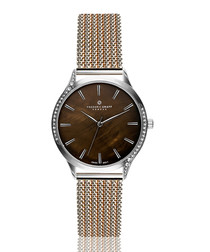 two-tone steel & mother-of-pearl watch